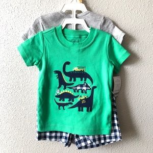 NWT Carters Mighty Awesome Dinosaur Shorts Set